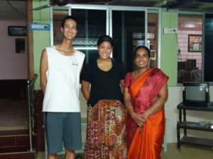 Chitra, the academic director of APPU, is always so kind and helpful. She brings us the best fruits (mangos!) and once took us into the city to shop for traditional Indian clothing. Today she showed us her farm, and we took this photo after having eaten the wonderful meal she cooked.